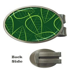 Vector Seamless Green Leaf Pattern Money Clips (oval)  by Simbadda