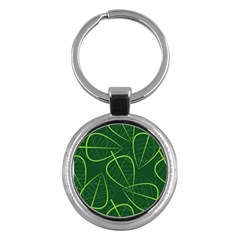Vector Seamless Green Leaf Pattern Key Chains (round)  by Simbadda