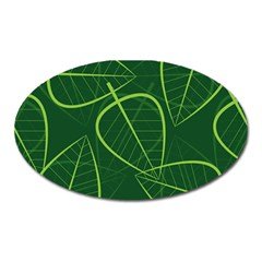 Vector Seamless Green Leaf Pattern Oval Magnet by Simbadda