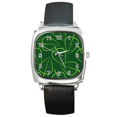 Vector Seamless Green Leaf Pattern Square Metal Watch by Simbadda
