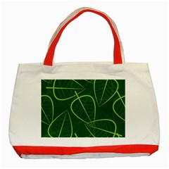 Vector Seamless Green Leaf Pattern Classic Tote Bag (Red) by Simbadda