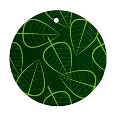 Vector Seamless Green Leaf Pattern Round Ornament (two Sides) by Simbadda
