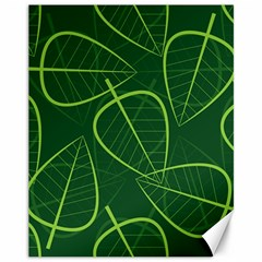 Vector Seamless Green Leaf Pattern Canvas 11  X 14
