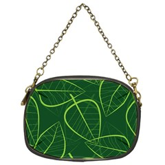 Vector Seamless Green Leaf Pattern Chain Purses (one Side)  by Simbadda