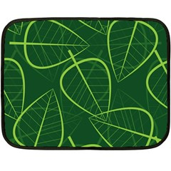 Vector Seamless Green Leaf Pattern Fleece Blanket (mini) by Simbadda
