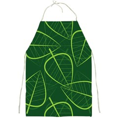 Vector Seamless Green Leaf Pattern Full Print Aprons by Simbadda