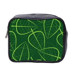 Vector Seamless Green Leaf Pattern Mini Toiletries Bag 2 Side by Simbadda