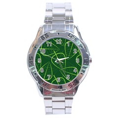 Vector Seamless Green Leaf Pattern Stainless Steel Analogue Watch by Simbadda