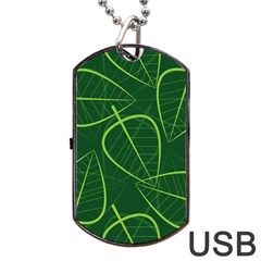 Vector Seamless Green Leaf Pattern Dog Tag Usb Flash (one Side) by Simbadda