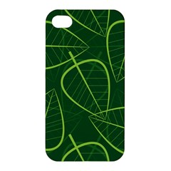 Vector Seamless Green Leaf Pattern Apple Iphone 4/4s Premium Hardshell Case by Simbadda