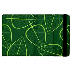 Vector Seamless Green Leaf Pattern Apple Ipad 2 Flip Case by Simbadda