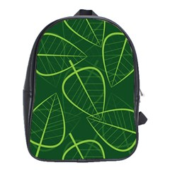 Vector Seamless Green Leaf Pattern School Bags (xl)  by Simbadda