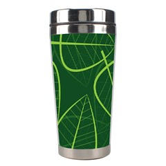 Vector Seamless Green Leaf Pattern Stainless Steel Travel Tumblers by Simbadda