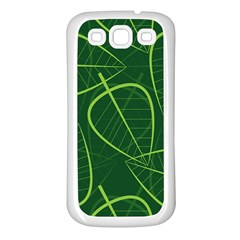Vector Seamless Green Leaf Pattern Samsung Galaxy S3 Back Case (white) by Simbadda
