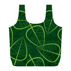 Vector Seamless Green Leaf Pattern Full Print Recycle Bags (l)  by Simbadda