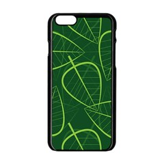 Vector Seamless Green Leaf Pattern Apple Iphone 6/6s Black Enamel Case by Simbadda