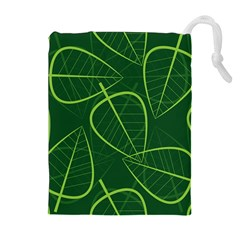 Vector Seamless Green Leaf Pattern Drawstring Pouches (extra Large) by Simbadda
