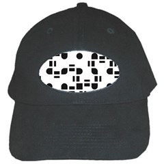 Black And White Pattern Black Cap by Simbadda