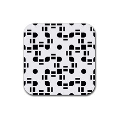 Black And White Pattern Rubber Square Coaster (4 Pack)  by Simbadda