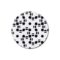 Black And White Pattern Rubber Round Coaster (4 Pack)  by Simbadda
