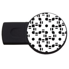 Black And White Pattern Usb Flash Drive Round (4 Gb) by Simbadda
