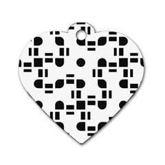 Black And White Pattern Dog Tag Heart (two Sides) by Simbadda