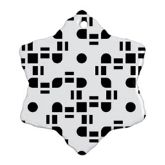 Black And White Pattern Snowflake Ornament (two Sides) by Simbadda