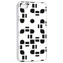 Black And White Pattern Apple Iphone 4/4s Seamless Case (white) by Simbadda