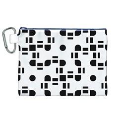 Black And White Pattern Canvas Cosmetic Bag (xl) by Simbadda