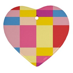 Colorful Squares Background Ornament (heart) by Simbadda