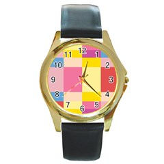 Colorful Squares Background Round Gold Metal Watch by Simbadda