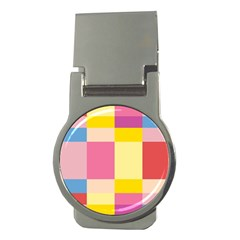 Colorful Squares Background Money Clips (round)  by Simbadda