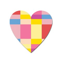 Colorful Squares Background Heart Magnet by Simbadda
