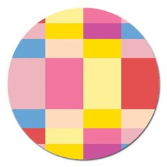 Colorful Squares Background Magnet 5  (round) by Simbadda