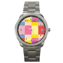 Colorful Squares Background Sport Metal Watch by Simbadda