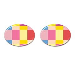 Colorful Squares Background Cufflinks (oval) by Simbadda