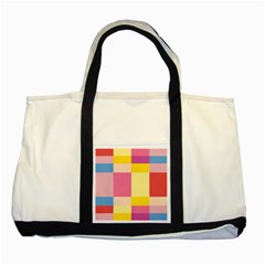 Colorful Squares Background Two Tone Tote Bag by Simbadda