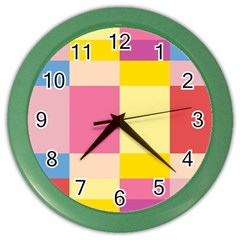 Colorful Squares Background Color Wall Clocks by Simbadda