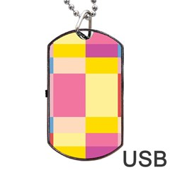 Colorful Squares Background Dog Tag Usb Flash (two Sides) by Simbadda