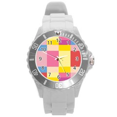 Colorful Squares Background Round Plastic Sport Watch (l) by Simbadda