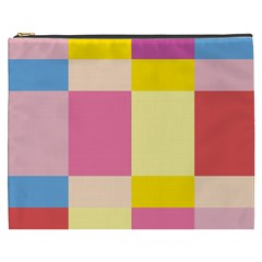 Colorful Squares Background Cosmetic Bag (xxxl)  by Simbadda