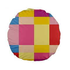 Colorful Squares Background Standard 15  Premium Round Cushions by Simbadda