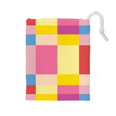 Colorful Squares Background Drawstring Pouches (large)  by Simbadda