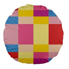 Colorful Squares Background Large 18  Premium Flano Round Cushions by Simbadda