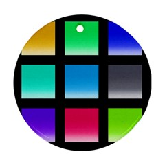 Colorful Background Squares Ornament (round) by Simbadda