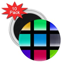 Colorful Background Squares 2 25  Magnets (10 Pack)  by Simbadda