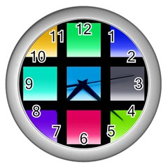 Colorful Background Squares Wall Clocks (silver)  by Simbadda