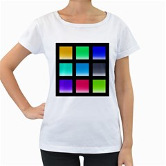 Colorful Background Squares Women s Loose-Fit T-Shirt (White)