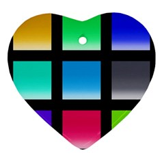 Colorful Background Squares Heart Ornament (two Sides) by Simbadda