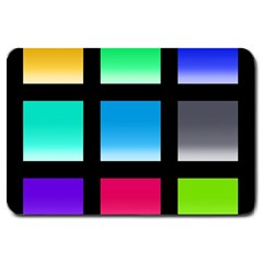 Colorful Background Squares Large Doormat  by Simbadda